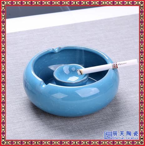 时尚个性创意陶瓷烟灰缸 家居摆件烟缸景德镇青花手绘大号