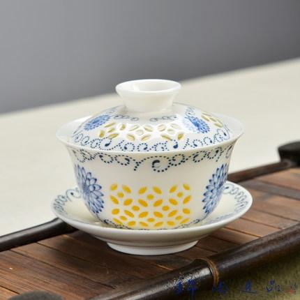 茶杯大号景德镇青花瓷泡茶碗器陶瓷白瓷三才碗手抓壶