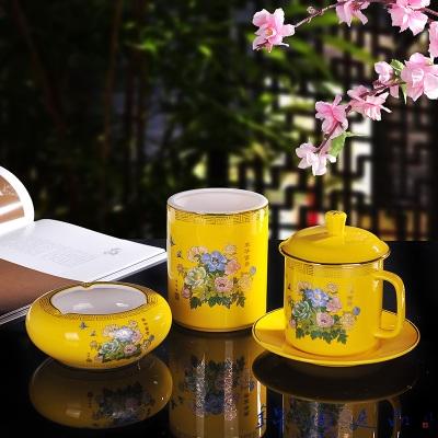 珐琅彩水点桃花笔筒茶杯带